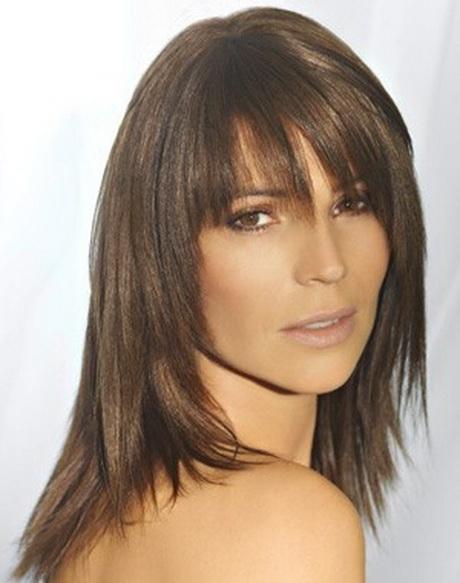 coupe de cheveux mi long d u00e9grad u00e9 avec frange