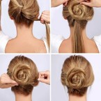 Chignon simple cheveux long