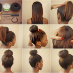 Chignon donut cheveux mi long
