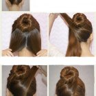 Chignon bun cheveux long
